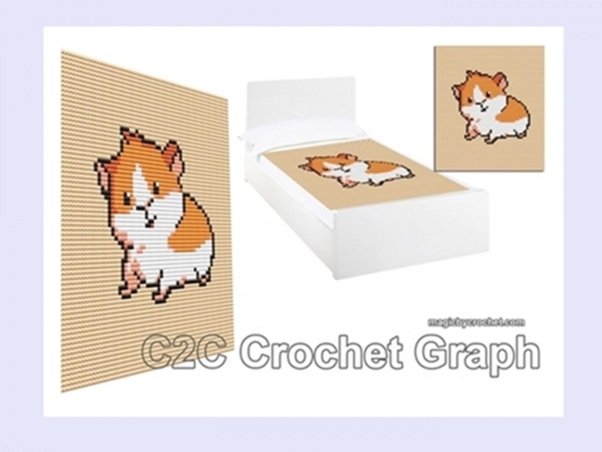 Cute Guinea Pig,  C2C Crochet Graph, PDF Chart, Instant Download, No.212