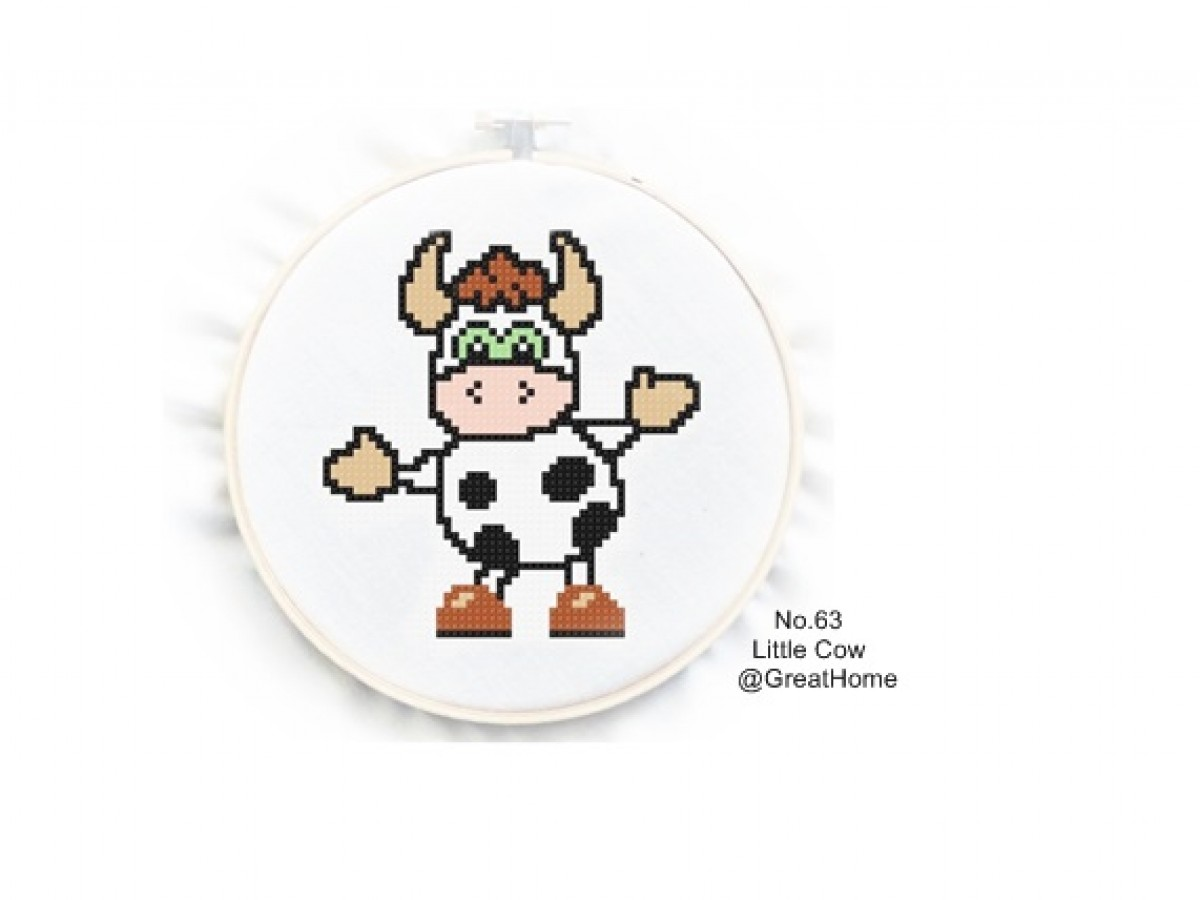 Little Cow Cross Stitch Chart Pattern Pdf , Beginner Level , No.063, Instruction