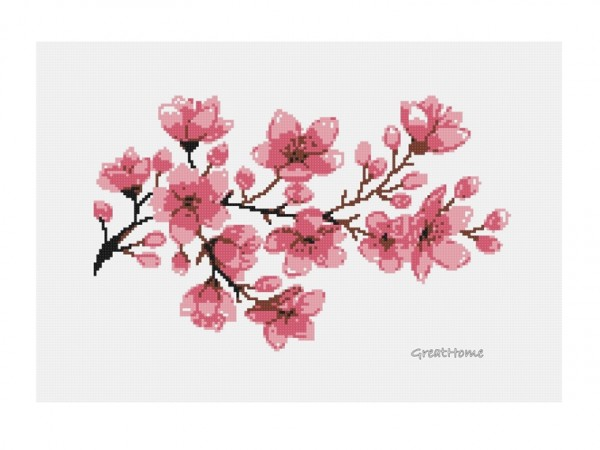 Large Cherry Blossom Cross Stitch Chart Pattern, PDF instant download, No.163, Instructions