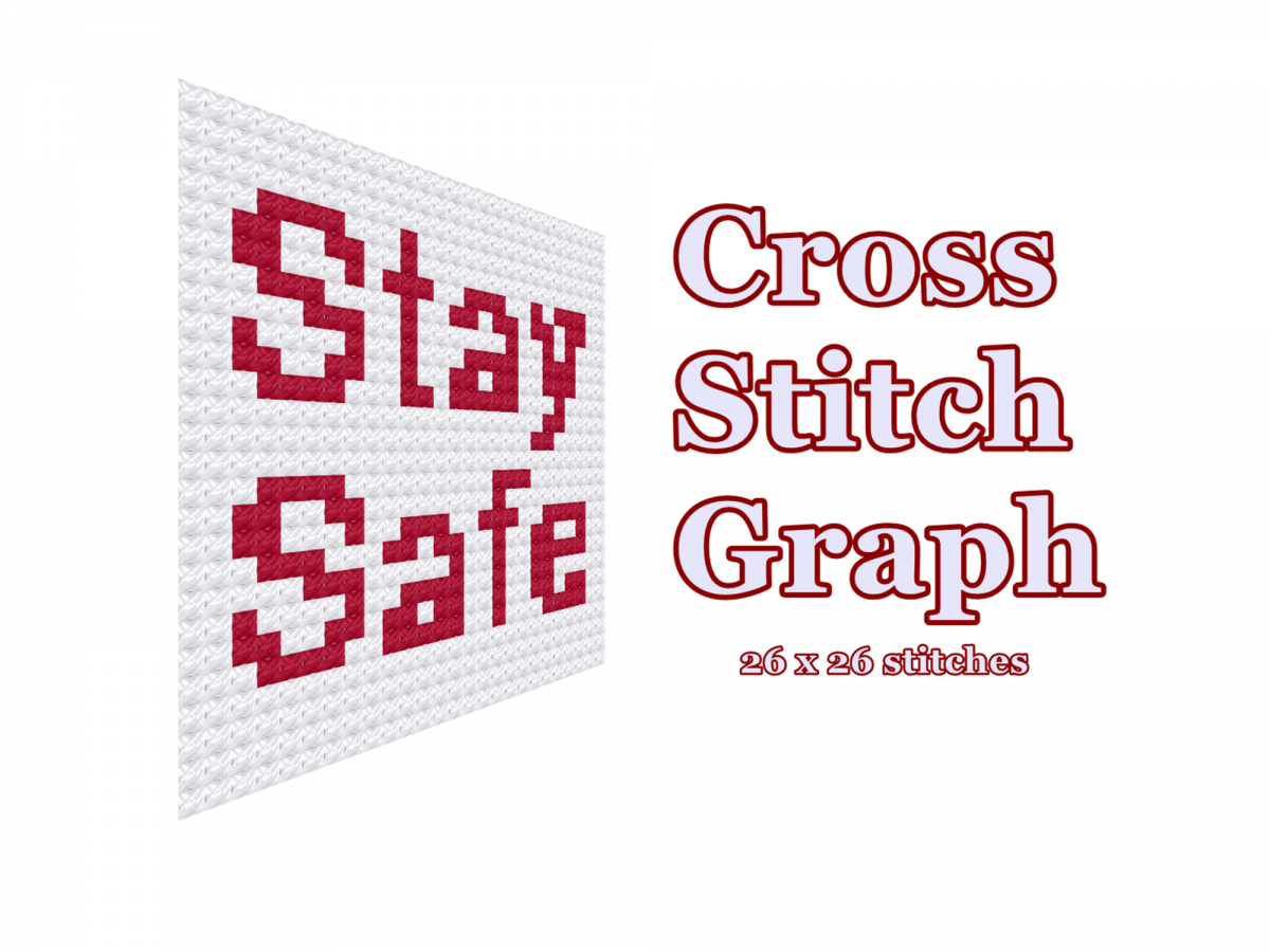 Stay Safe cross stitch graph, Covid pattern, 2020, Small cross stitch, Easy level, Beginner