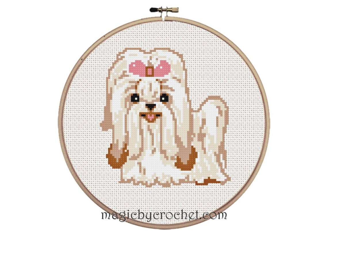 PDF Shih Tzu Puppy, Cross Stitch, Counted Chart Pattern,instant download, No.208, C2C crochet graph
