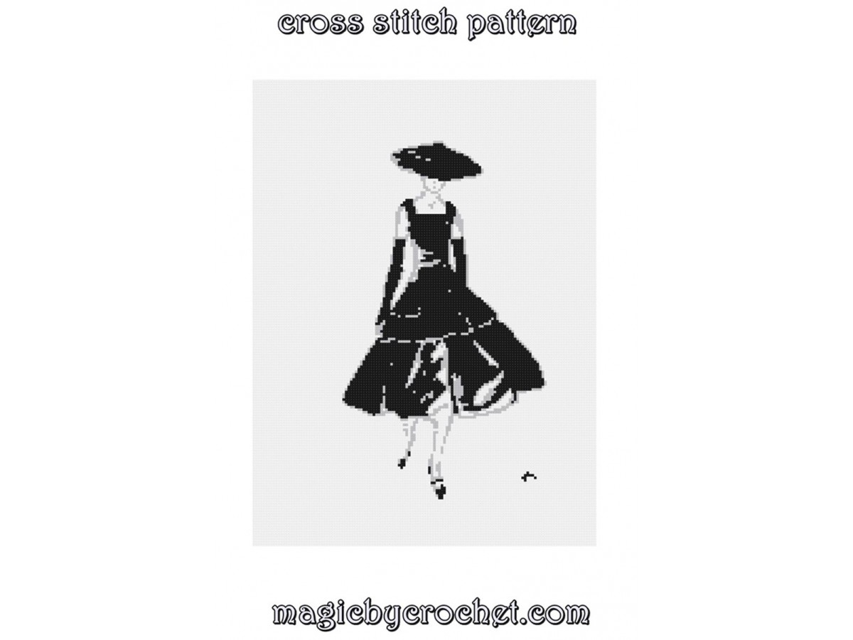 Dagmar Freuchen - Dior Dress, Cross Stitch Pattern, PDF Instant Download, Famous Paintings - No. 332