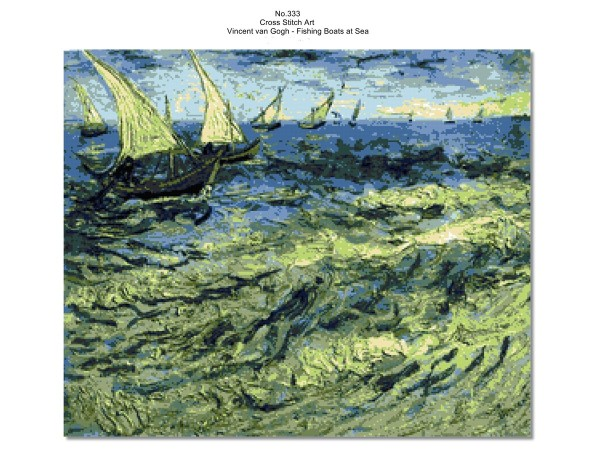 Vincent van Gogh - Fishing Boats at Sea, Cross Stitch Pattern, PDF Instant Download, Famous Paintings - No.333