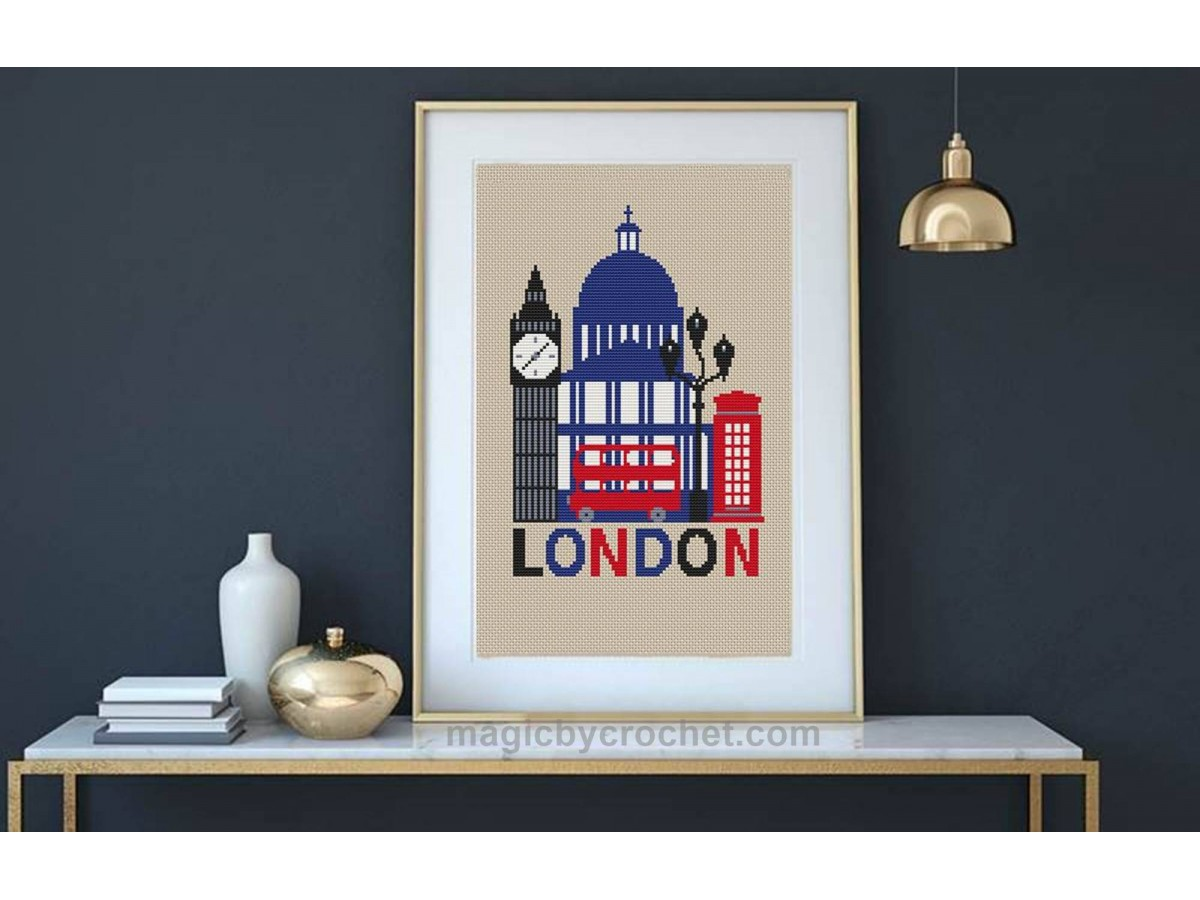 London cross stitch, Poster pattern, C2C graph, PDF download, Modern, No.505