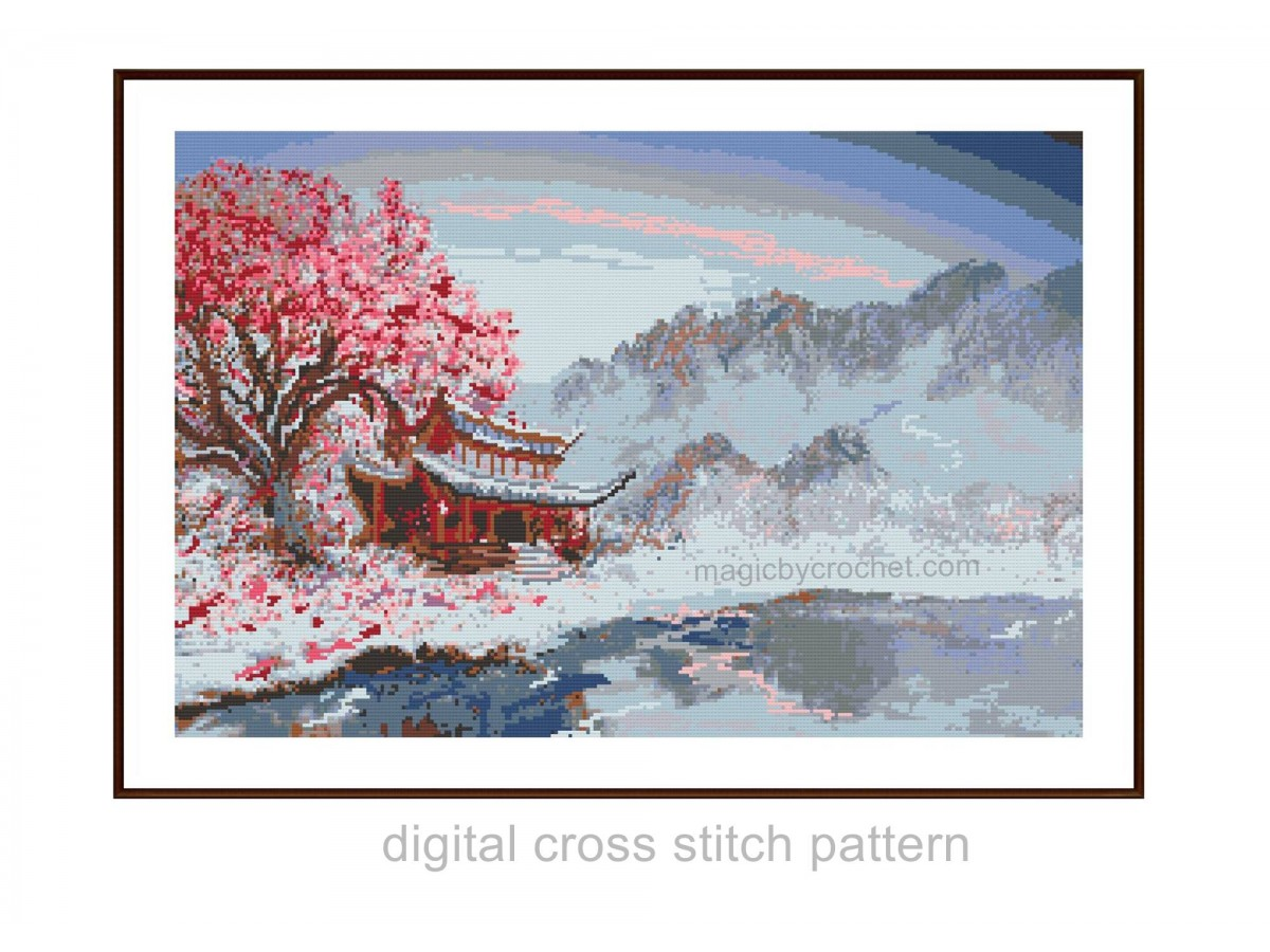 Japanese Landscape, Cross Stitch, Chart, Pattern, PDF instant download, No.507