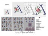 Antique Alphabet -Cross Stitch -Pattern-Upper letters-Rose Alphabet, No.014