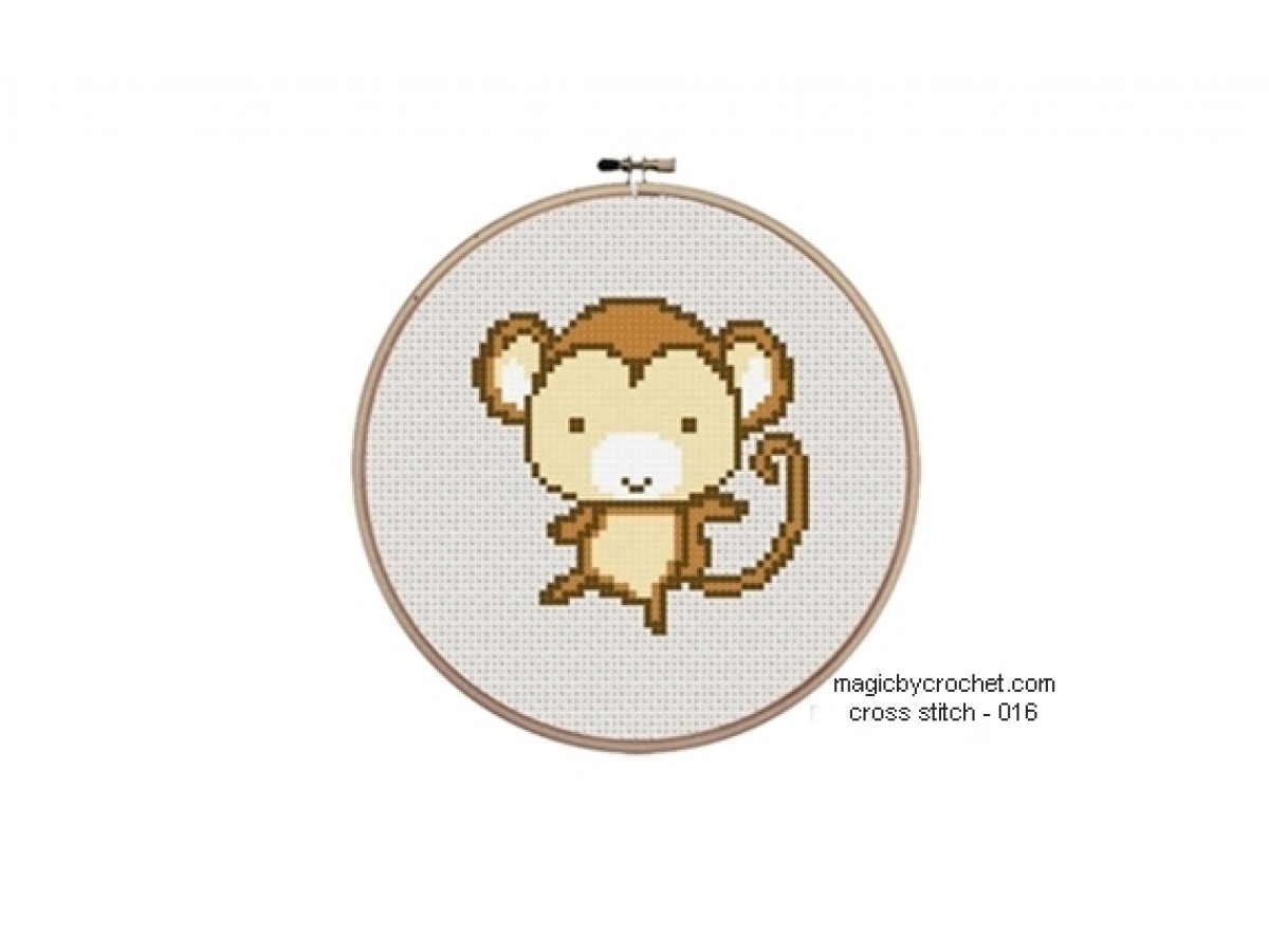 Baby Monkey Cross Stitch Chart Pattern, PDF instant download, No.017,C2C Crochet Graph