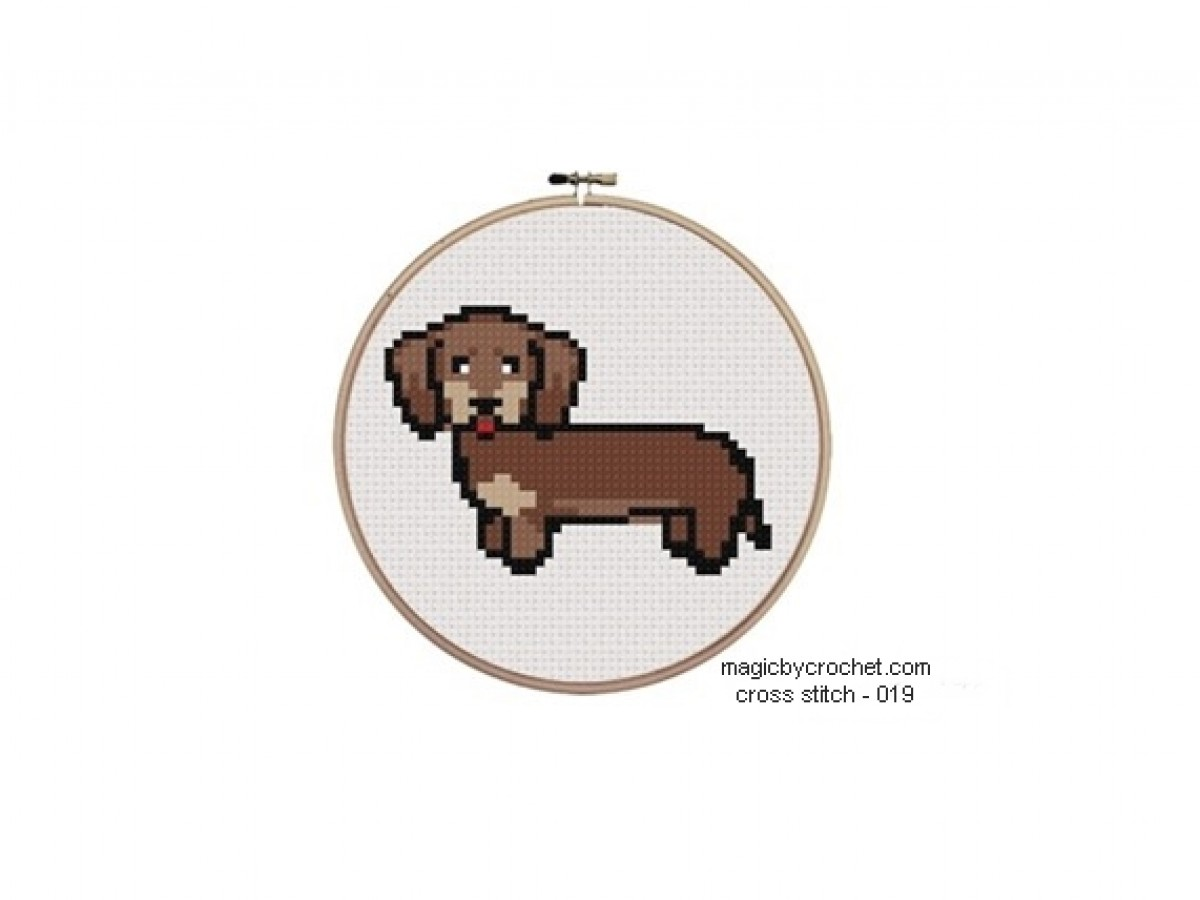 Small Sausage Puppy Cross Stitch Chart Pattern, PDF instant download, No.019,C2C Crochet Graph