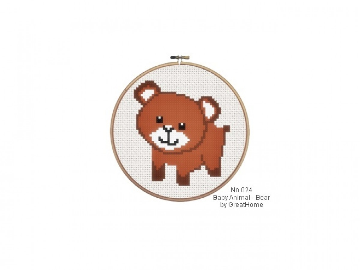 PDF instant download, Baby Bear C2C graph, Cross Stitch Chart Pattern, No.025, corner to corner crochet