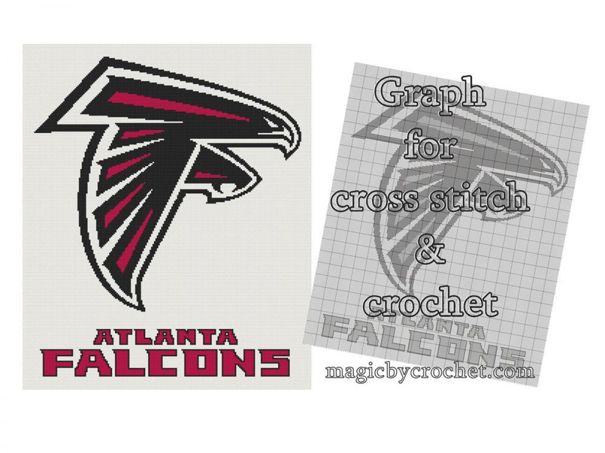 Atlanta Falcons Cross Stitch  Graph, pdf format, Afghan Crochet Graph, No.026