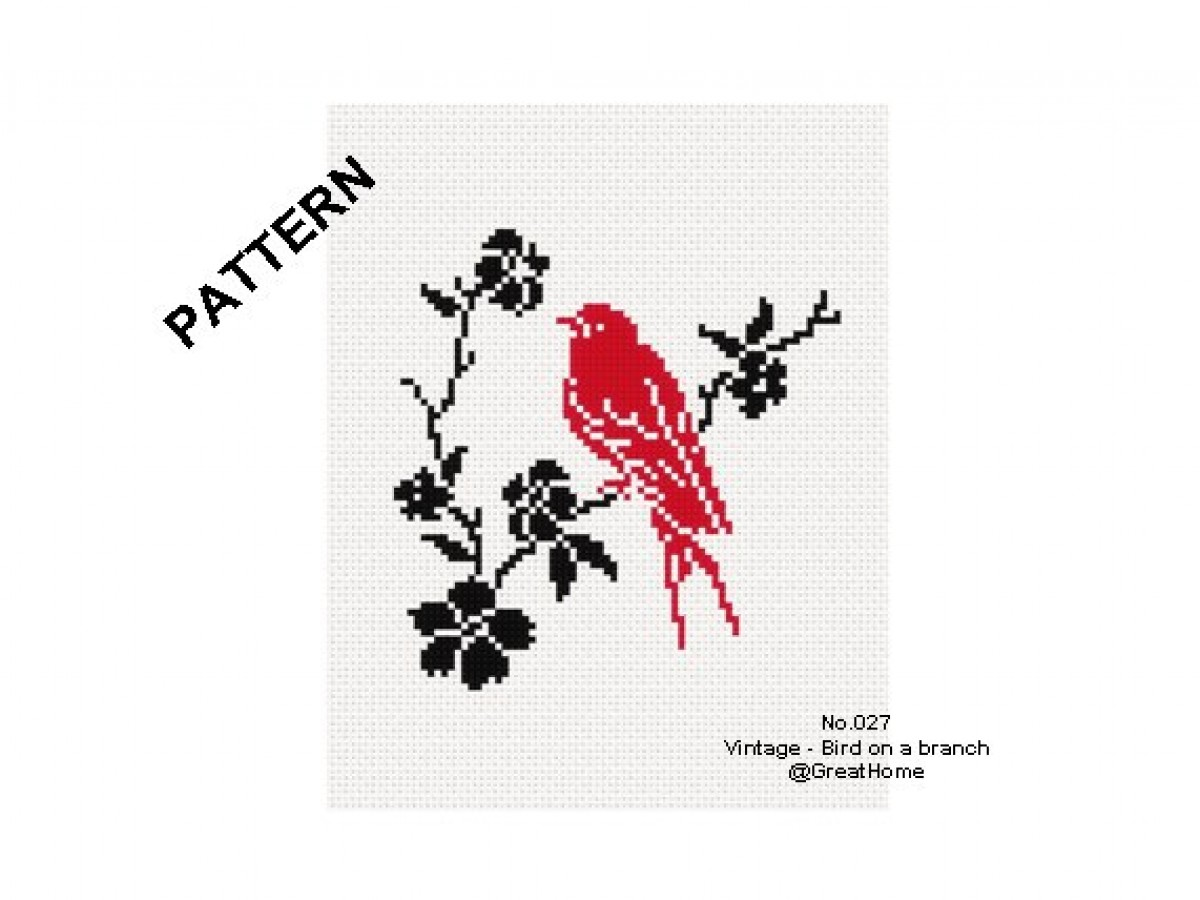 Bird on a branch, Stitch PDF Pattern, Instant Download, Retro cross stitch chart, No.027