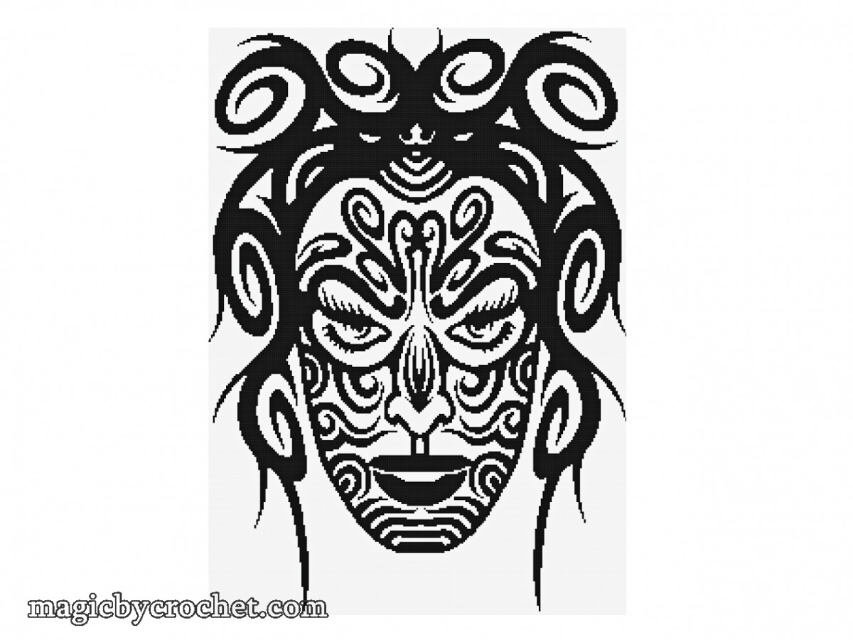 Tribal Girl, Cross Stitch Pattern , PDF , Amazing large Wall Decor , Beginner cross stitch, Tatoo motif, no.031