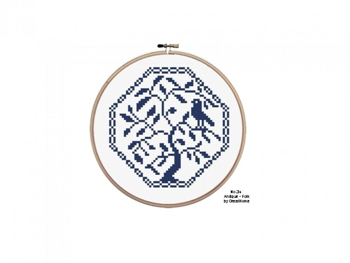 Traditional, Folk, Antique, Beginner Cross stitch Pattern, Instant Download, Retro Chart, no.034