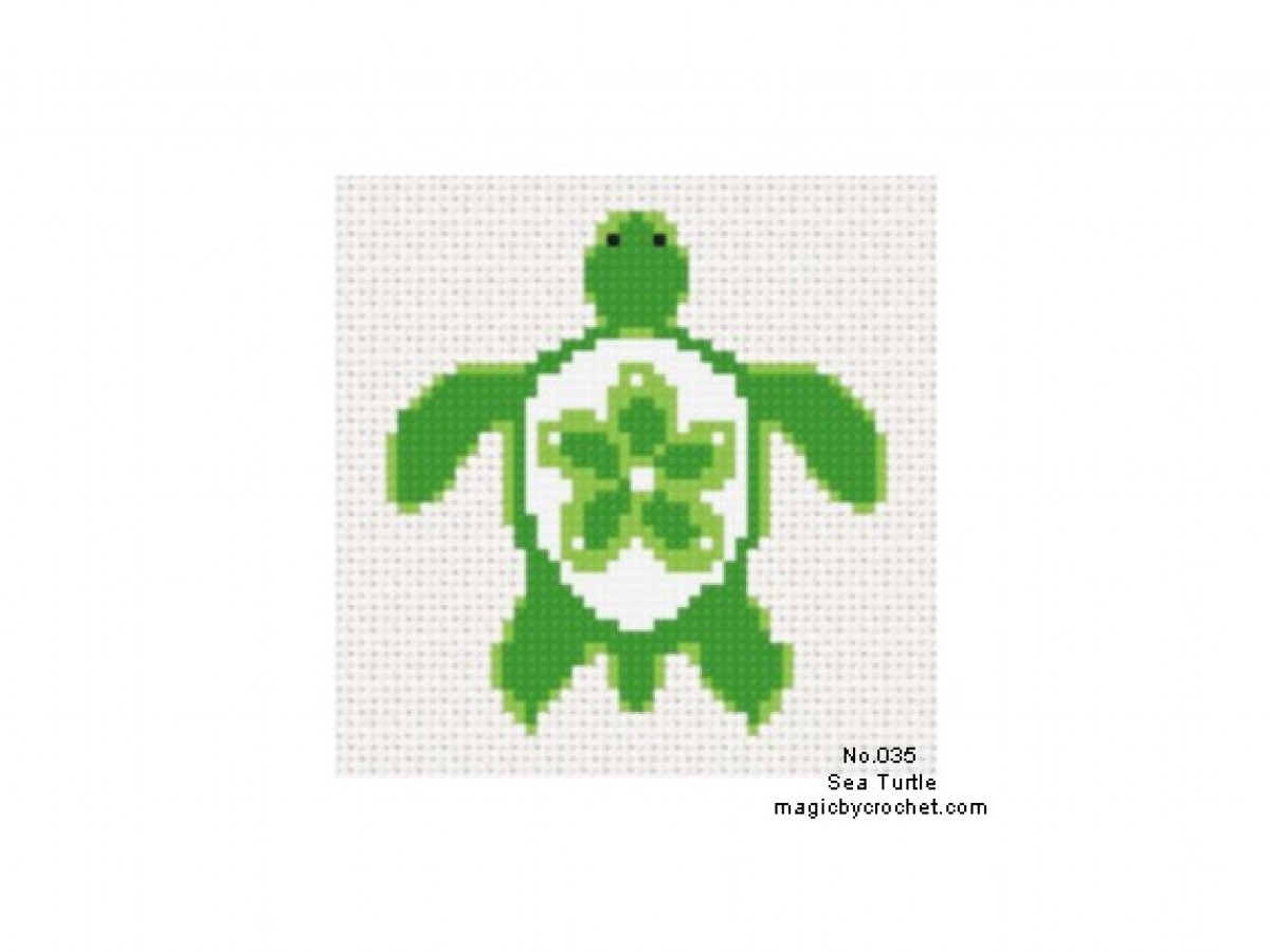 Sea Turtle Cross Stitch Chart Pattern, PDF instant download, No.035, C2C graph