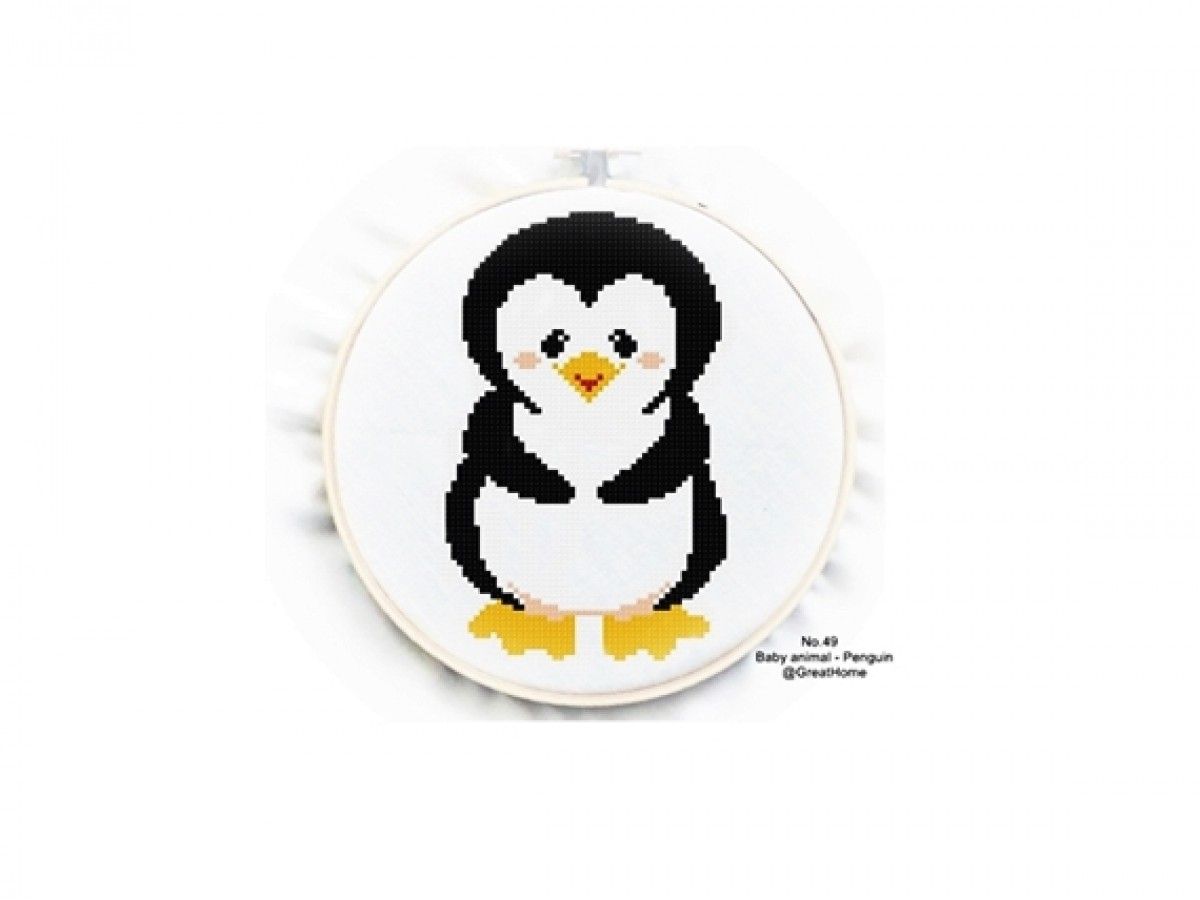 Baby Penguin Cross Stitch Chart Pattern, PDF instant download, C2C Graph, Instructions, , No.049