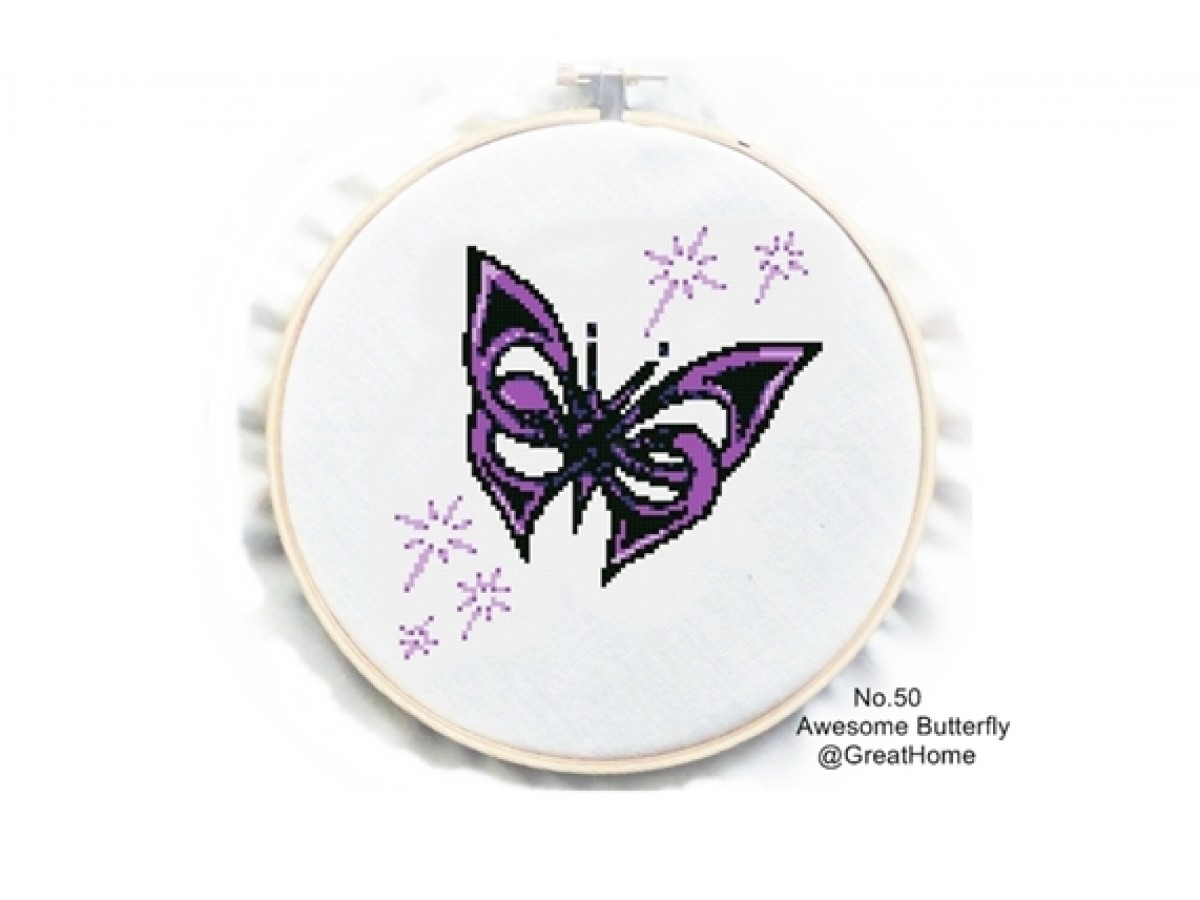 Awesome butterfly, Modern Cross Stitch Pattern , Simple, PDF counted cross stitch, No.050