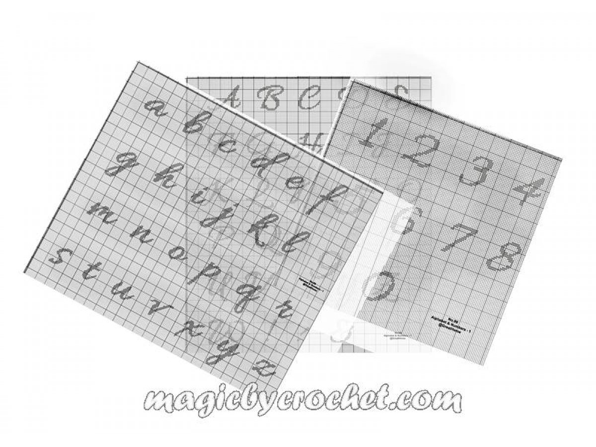 Alphabet & Numbers Cross Stitch Pattern, Blackwork Upper , small letters and numbers, No.099