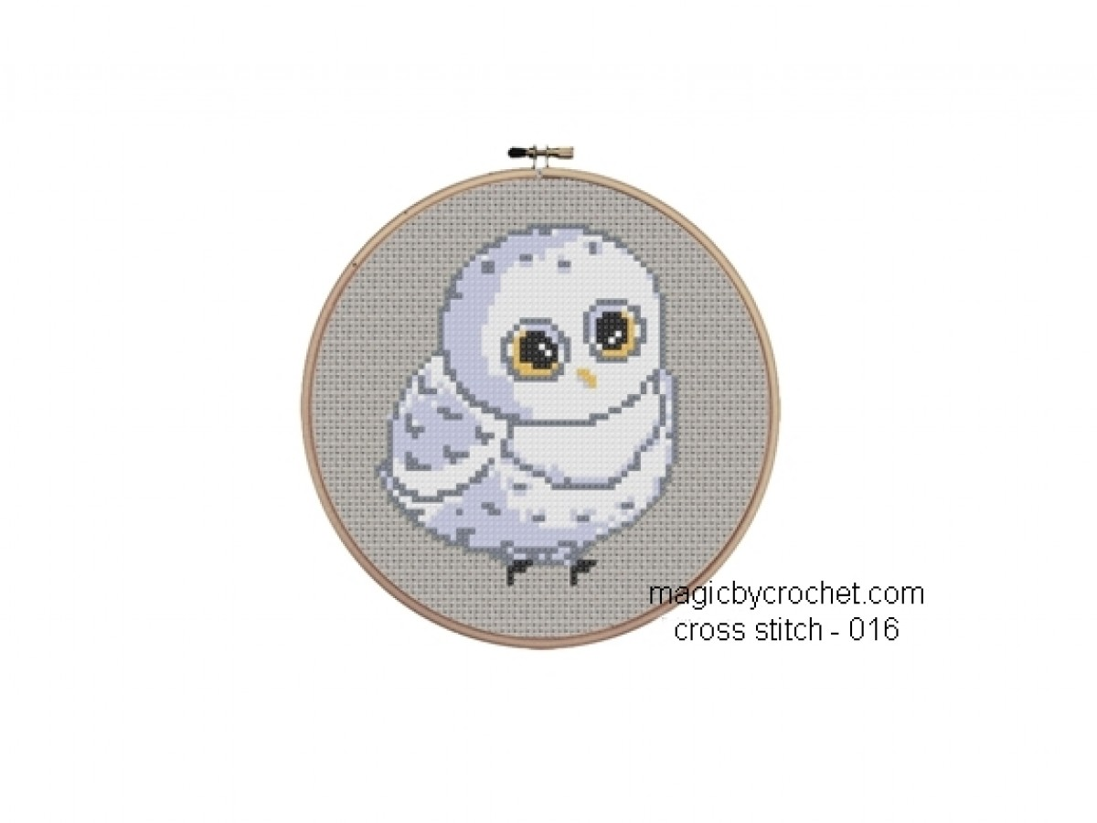 PDF instant download, Baby Owl Cross Stitch Chart Pattern, No.016, C2C Crochet Graph