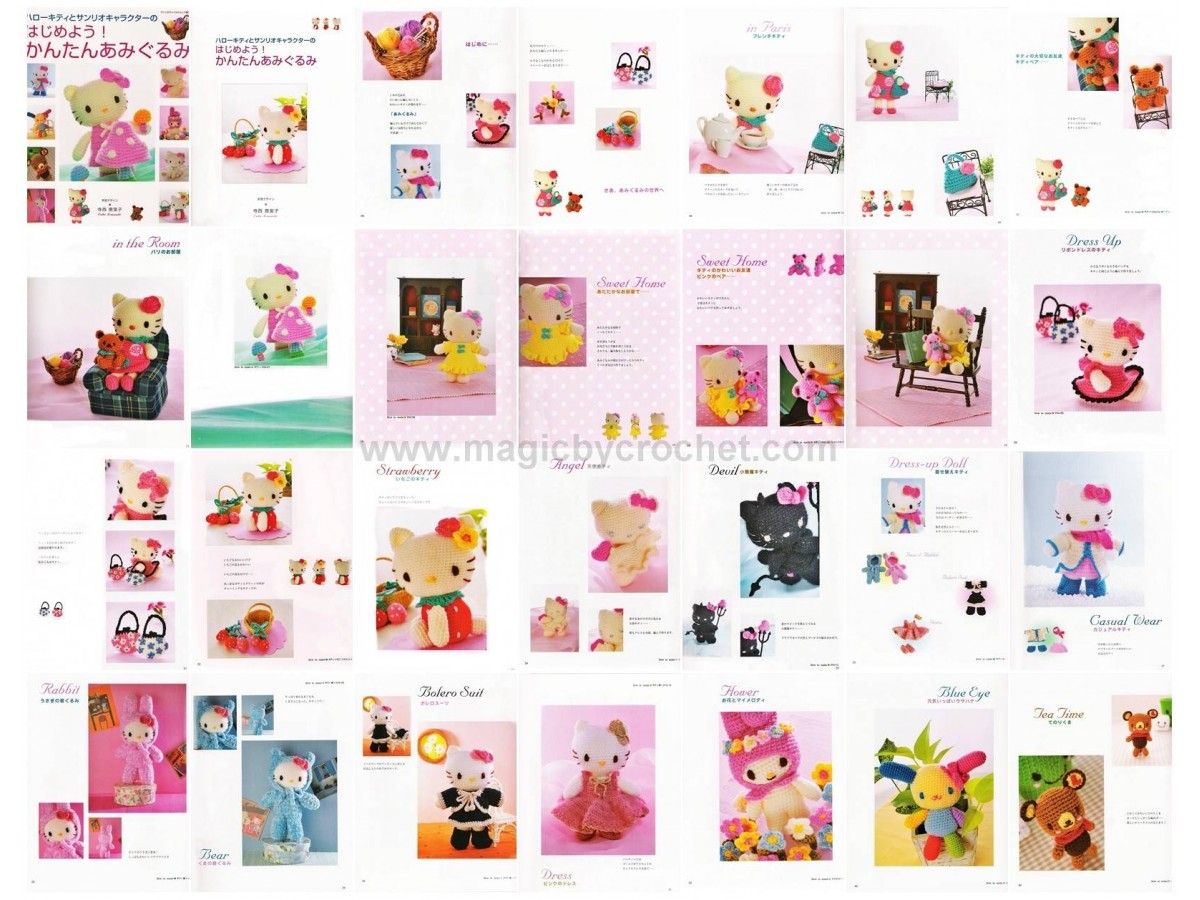 Hello Kitty, PDF Crochet Pattern, Japanese eBook, Instant download, No.012
