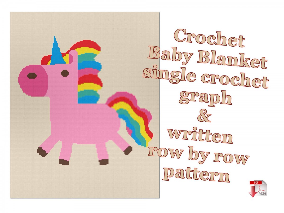 Graphgan, Unicorn, Rainbow, Crochet blanket, Written pattern, Instant download, No.550-single crochet