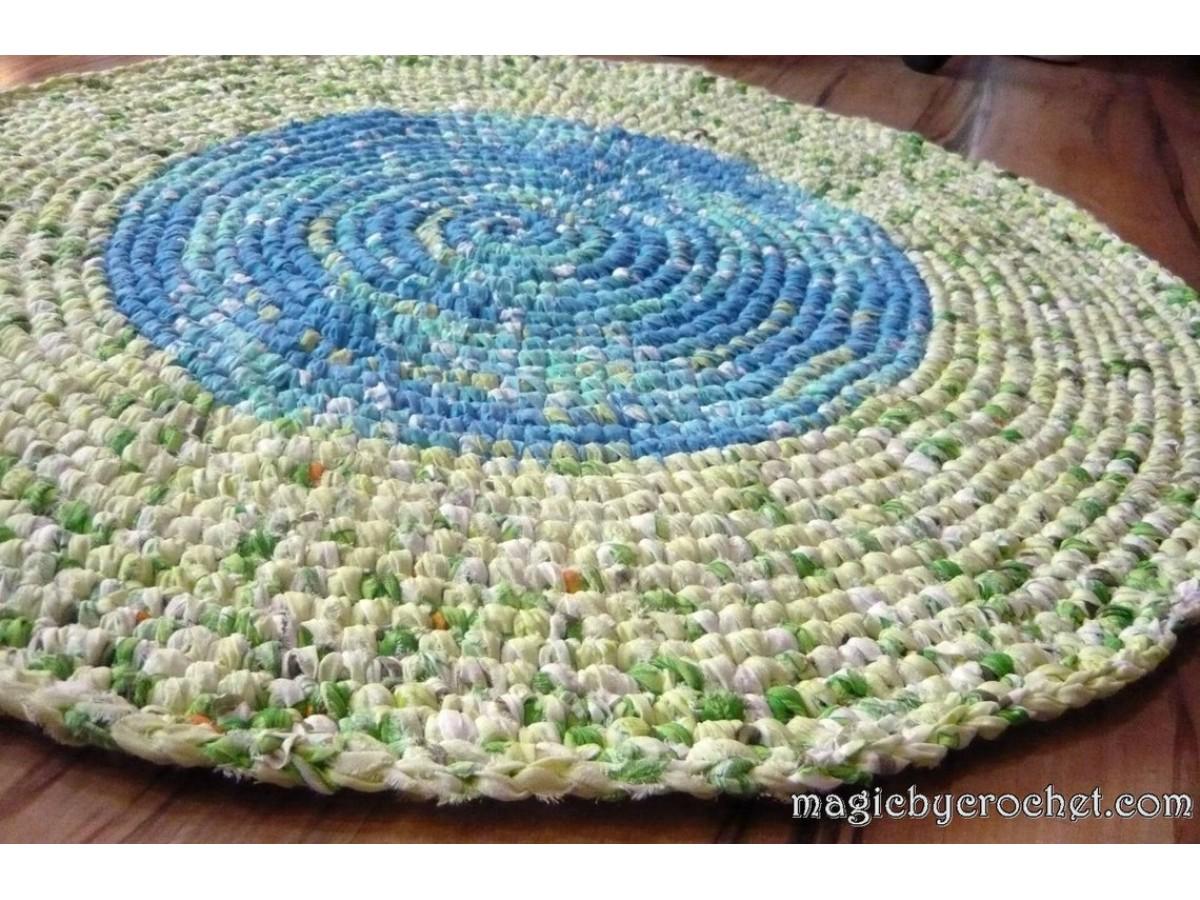 Rag Rug, Crochet Rug, Handmade Rug, Nursery Rug, Kitchen Rug, Round Rug, 99 cm, Ready to ship