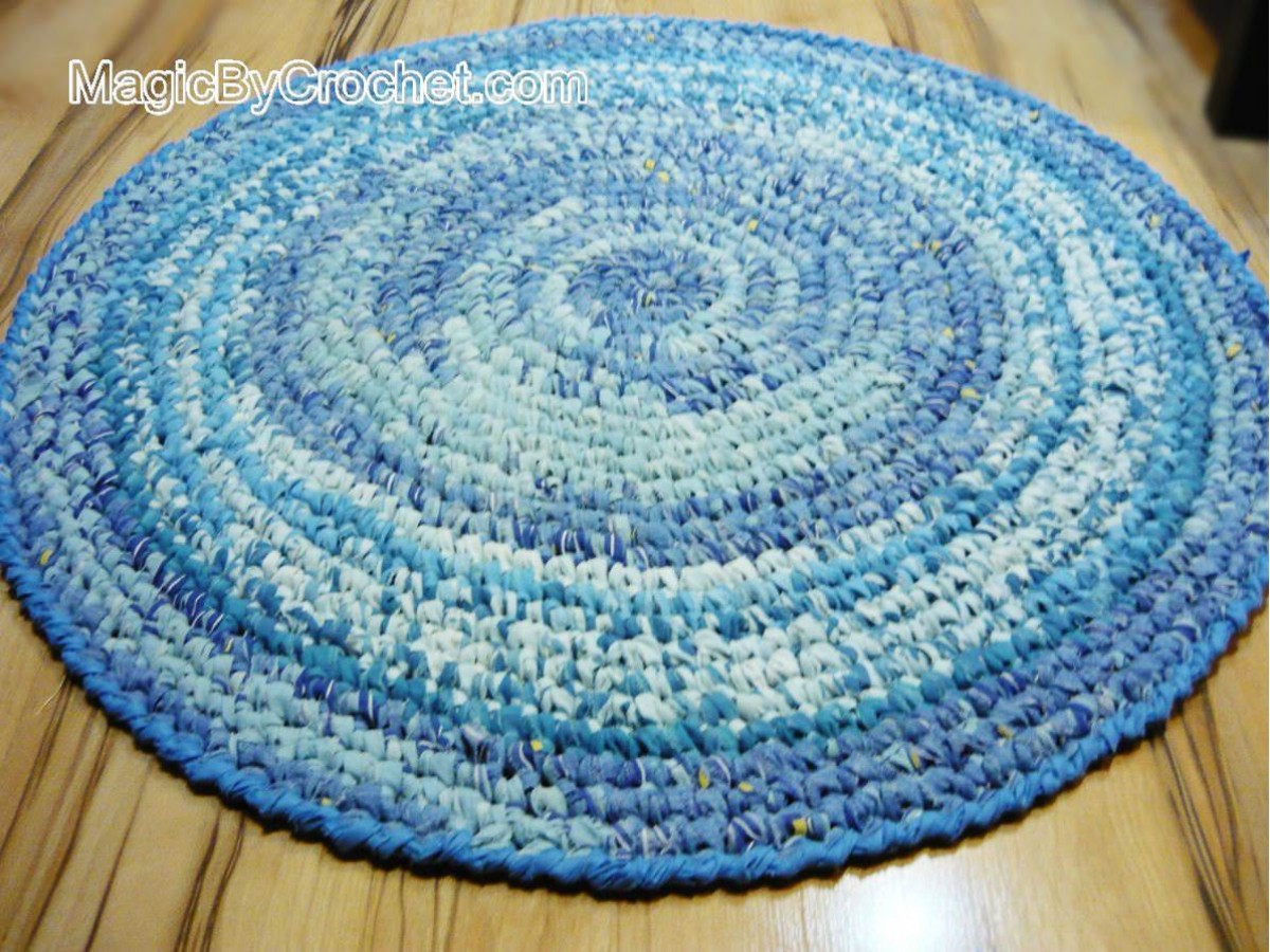 Blue Rag Rug - Nursery Rug - Kitchen Rug - Handmade Rug - 3 foot