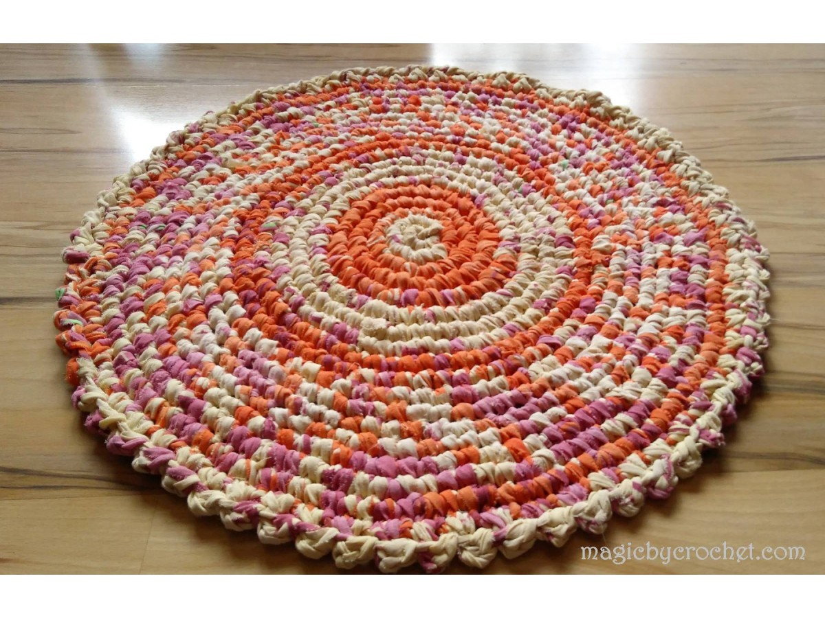Girl room Rug - Round Rag Rug - 67 cm - Crochet Rug - Nursery rug - Bathroom rug