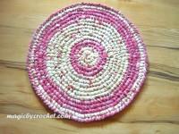 Girl room Rug - Round Rag Rug - 61 cm - Pink Crochet Rug