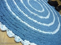 Blue rug , Rag Rug, Crochet Rug, Round Rug 90 cm, Bathroom rug Ready to ship