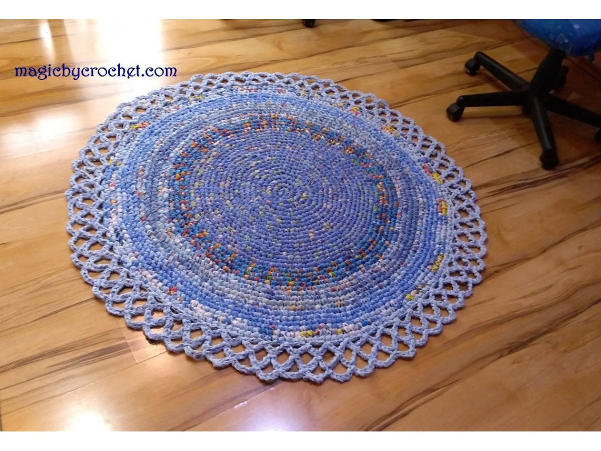 Rag Rug, Blue Rug, Doily Rug, Handmade Rug, Nursery Rug, Round Rug, Crochet rug, 125 cm, Ready to ship