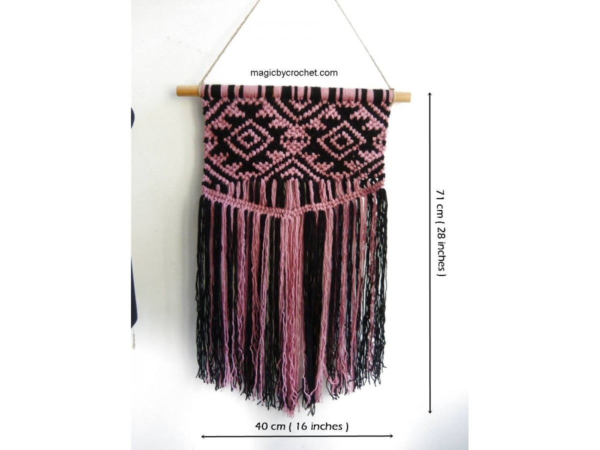 Aztec macrame wall hanging, Colorful macrame, Boho wall decor, Handmade, Custom, One of a kind, 002