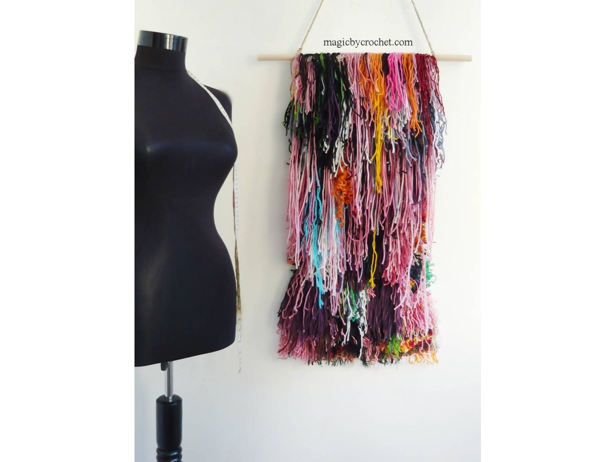 Shaggy wall hanging, Colorful tapestry, Boho wall decor, Handmade, Custom, One of a kind