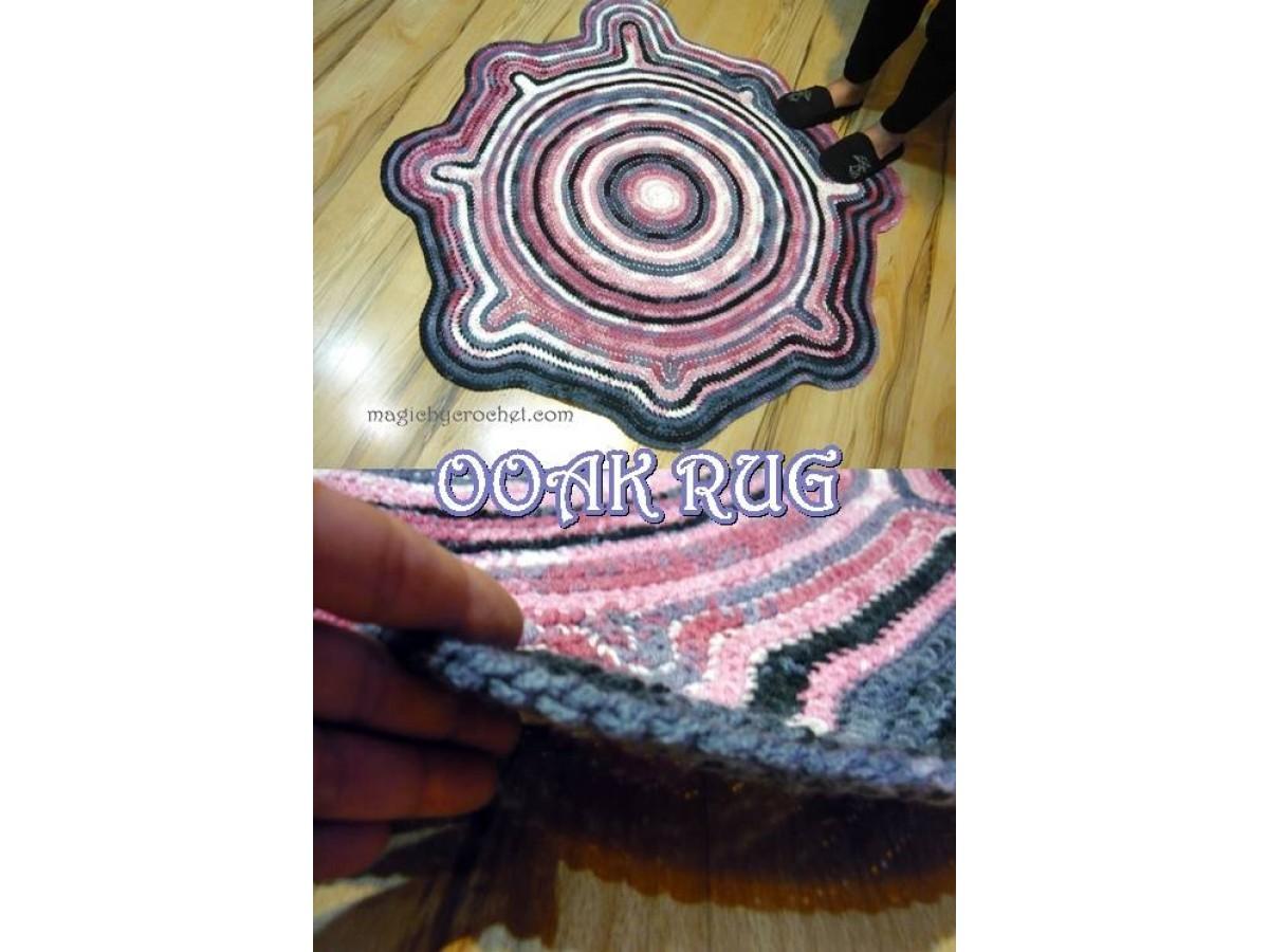 Splash Rug, OOAK rug, Free-form Rug, Handmade Rug, Braided Crochet Rug, Bohemian Rug, Area Rug, no.200